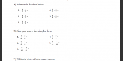 Subtraction of fraction with the same denominator up to 10 (Exercises) - Low Vision